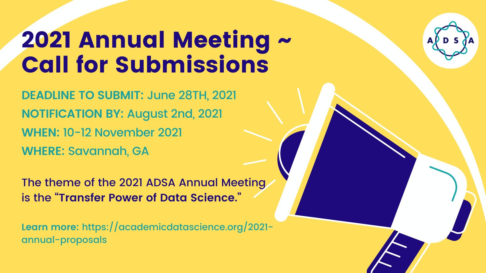 2021 ADSA Annual Meeting - Call for Submissions - Info Banner