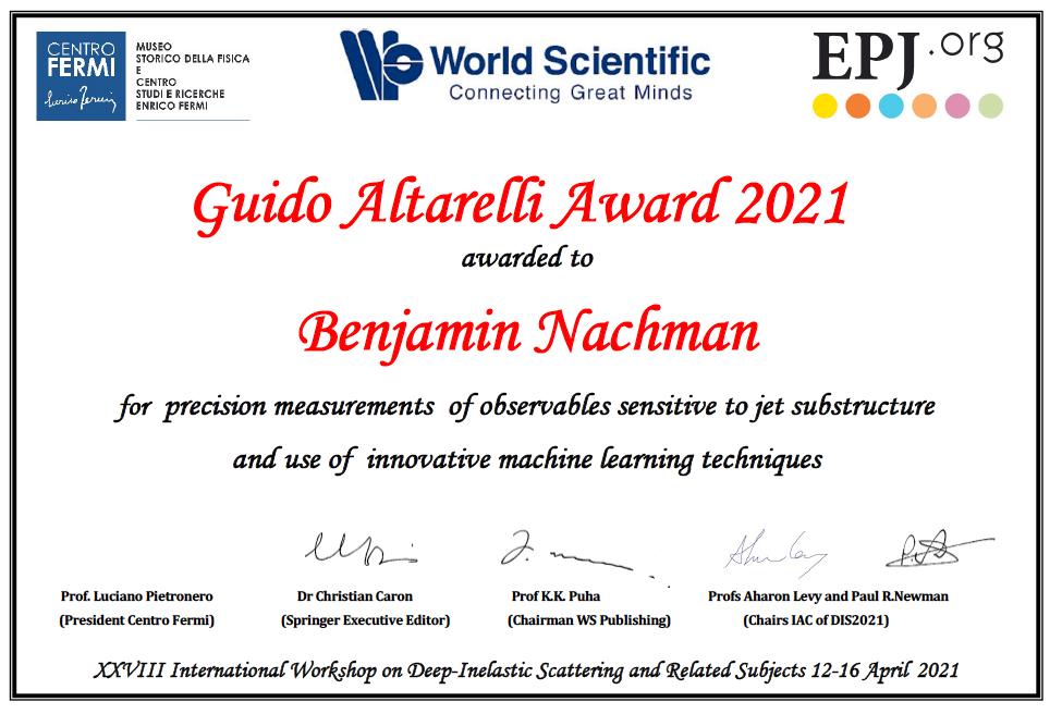 Nachman - 2021 Guido Altarelli Award - image