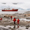 Antarctica scene with ship, rocks, birds and people - VASQUEZ