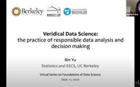 2020-0911 - Bin-Yu - Veridical Data Science - opening slide - video thumbnail