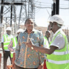Energy Cabinet Secretary Charles Keter shares a point on the Turkana Wind Power project in Marsabit County to President Uhuru Kenyatta and Deputy President William Ruto during its inauguration on July 18,2019. PHOTO | FILE | NATION MEDIA GROUP